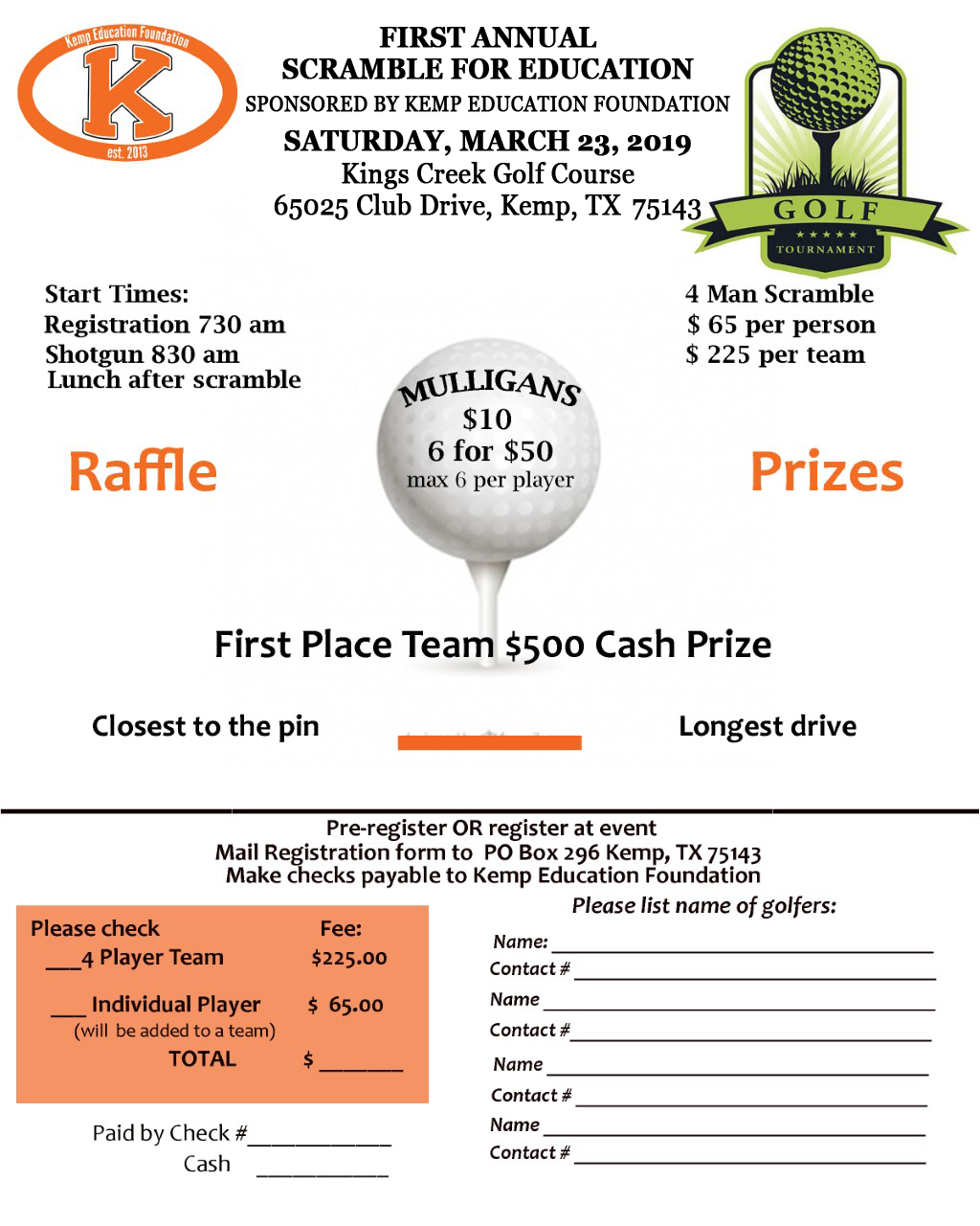 Golf Tourney Form